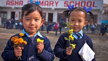 Girls with Flowers ASHA Primary School