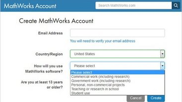 Screenshot Create MathWorks Account